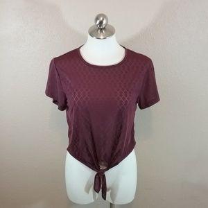Gymshark Geo Mesh Short Sleeve Tie Waist Top